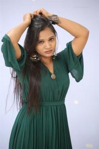 Actress Sree Madhuri in Green Dress Photos @ Batch Trailer Launch