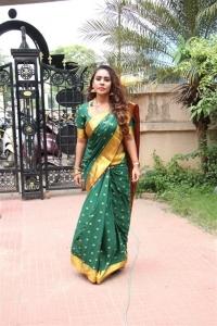 Telugu Actress Sri Reddy in Silk Saree Photos