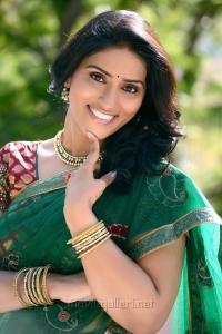 Telugu Actress Sri Sudha Saree Photo Shoot Stills