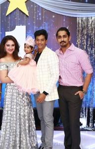 Siddharth @ Rakul Sridevi Vijayakumar Daughter Rupikaa 1st Year Birthday Celebration Photos