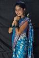 Telugu Actress Suhasini Blue Saree Images @ Rough On Location