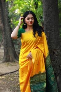 Kaali Movie Heroine Sunaina in Yellow Silk Saree Photos HD