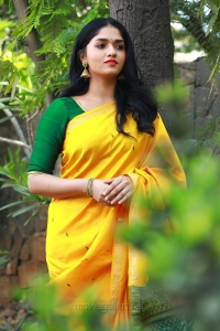Kaali Movie Heroine Sunaina in Yellow Saree Photos HD