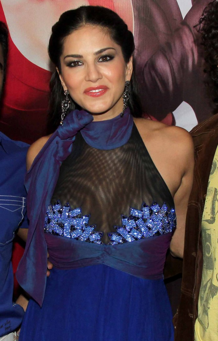 Sunny Leone Hot Photos in Blue Halter Gown [ Gallery View ]