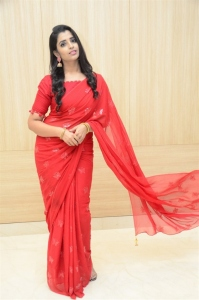 Anchor Syamala Red Saree Pics @ Love Story Success Meet