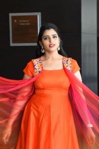 Telugu Anchor Syamala Latest Pics in Orange Dress