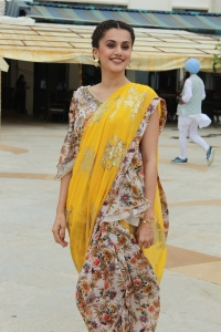 Actress Taapsee New Images @ Mission Mangal Press Meet