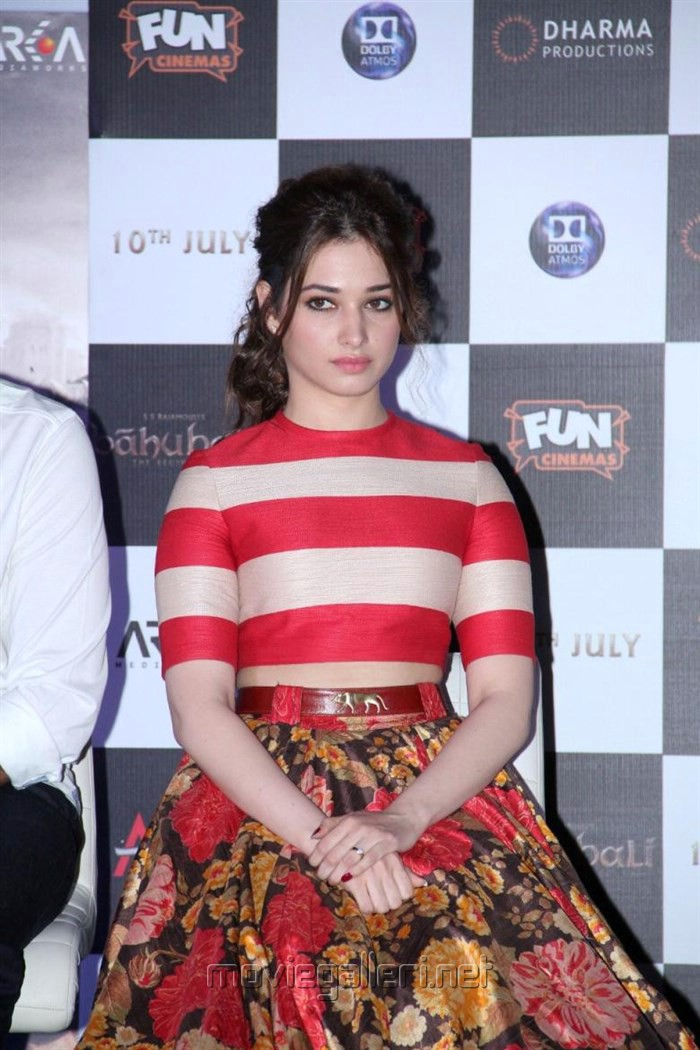 Actress Tamanna Photos at Bahubali Hindi Launch in Mumbai