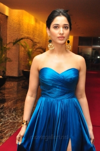 Actress Tamanna Hot Stills in Blue Long Dress