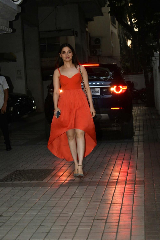 Actress Tamanna in Orange Dress Photos