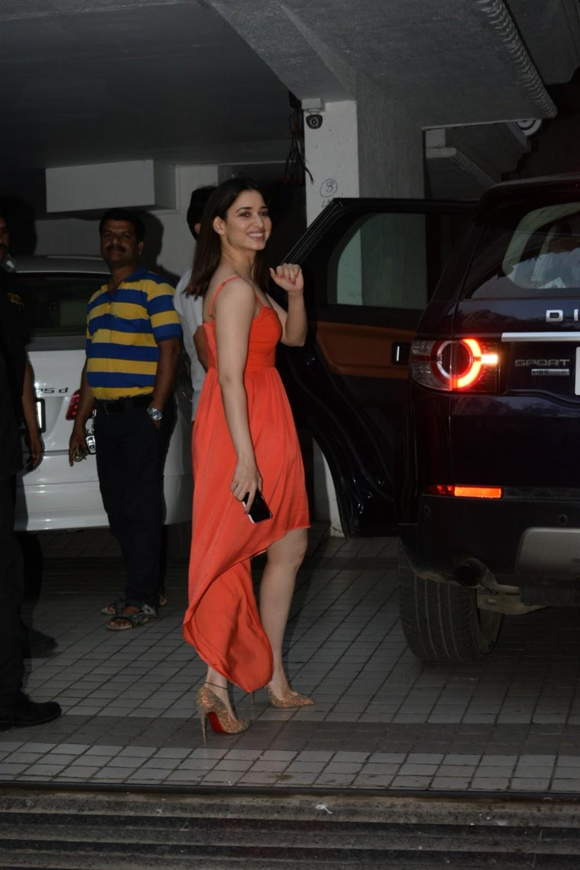 Actress Tamanna Bhatia in Orange Dress Photos