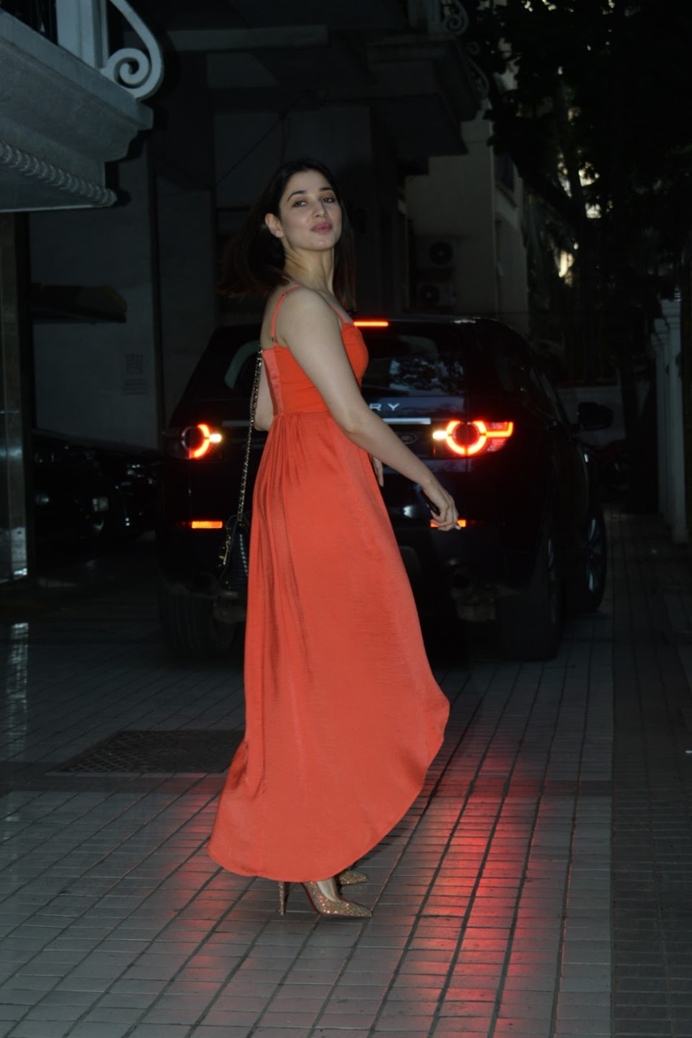 Actress Tamannaah in Orange Dress Photos