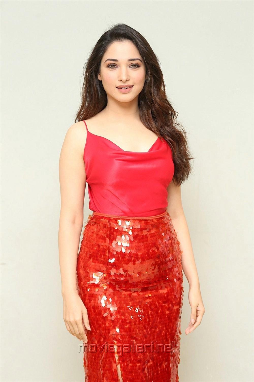 Next Enti Movie Actress Tamannaah Bhatia Red Dress Photos