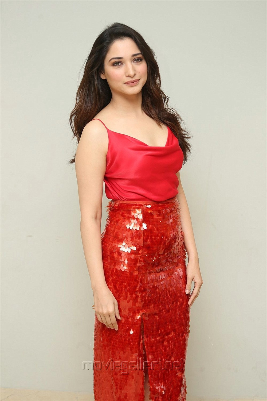 Next Enti Actress Tamanna Bhatia Red Dress Photos