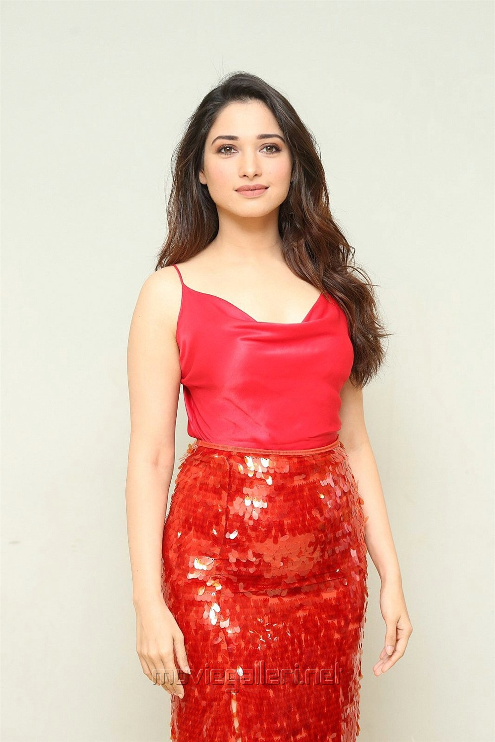 Next Enti Movie Actress Tamannaah Red Dress Photos