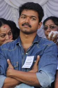 Actor Vijay at Tamil Film Industry Protest Against Service Tax Photos