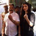 Kamal, Shruti Haasan Cast their Votes in Indian Elections 2019 Photos