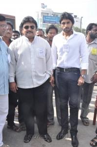Prabhu with son Vikram at Tamil Stars Fasting Against Service Tax Stills