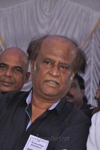 Superstar Rajini at Tamil Stars Fasting Against Service Tax Stills