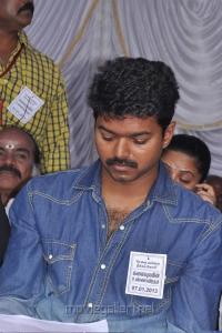 Vijay at TamilNadu Film Industry Hunger Strike Against Service Tax