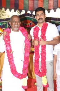 Ilayaraja, Vijay Antony @ Tamilarasan Movie Pooja Stills