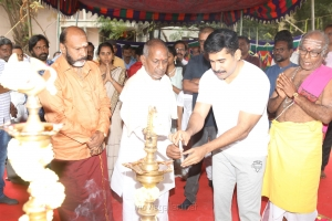 G Siva, Ilaiyaraja, Vijay Antony @ Tamilarasan Movie Pooja Stills