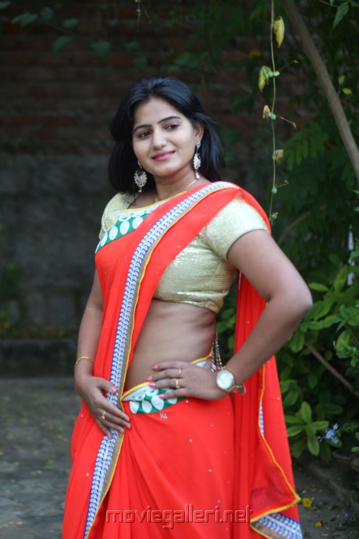 Picture 690439 | Telugu Actress Tanusha Swathi Hot in Red Saree ...