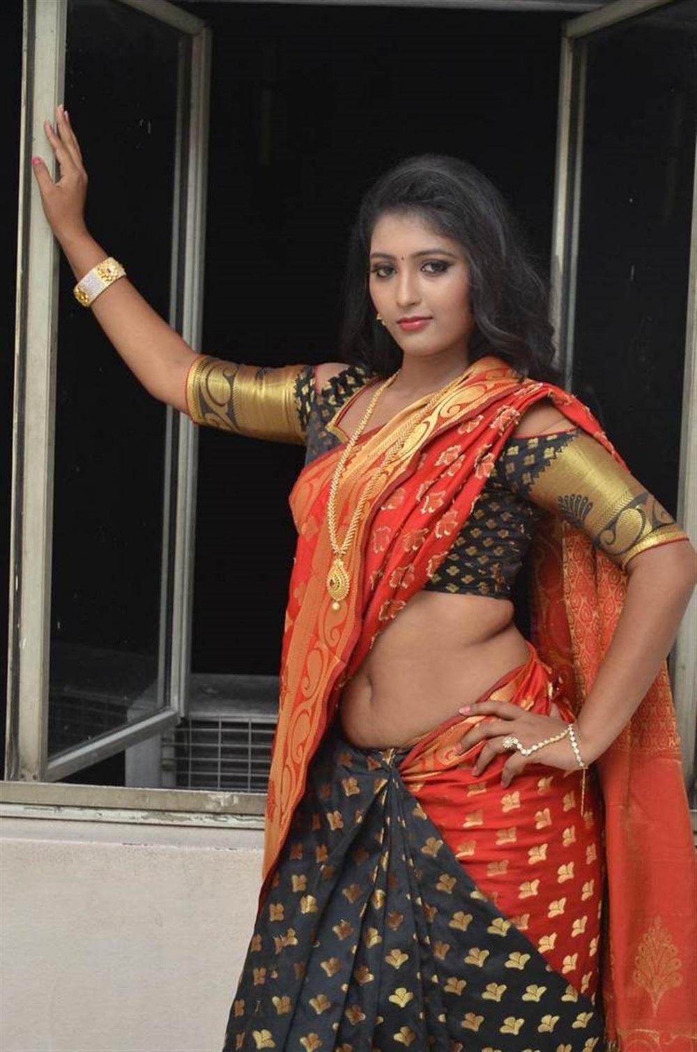 Telugu Actress Tanushka Hot Red Saree Photos