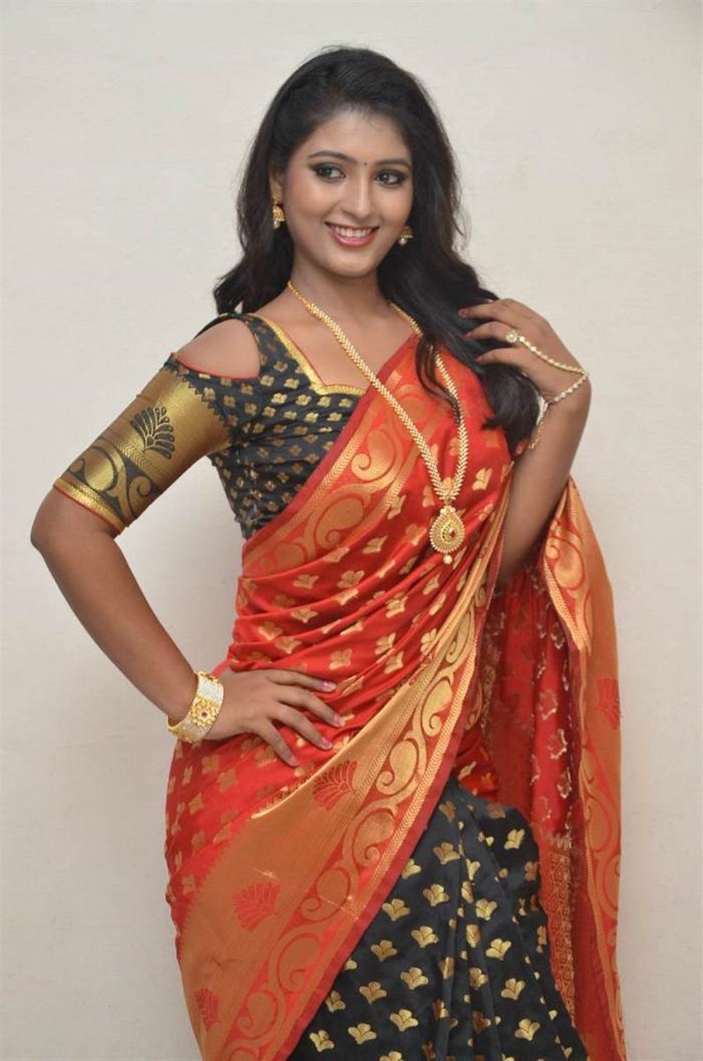 Actress Tanushka Hot Red Saree Photos