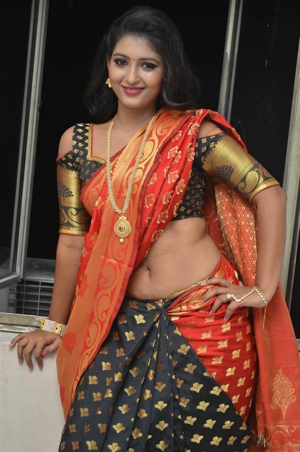 Actress Tanushka Hot in Red Saree Photos