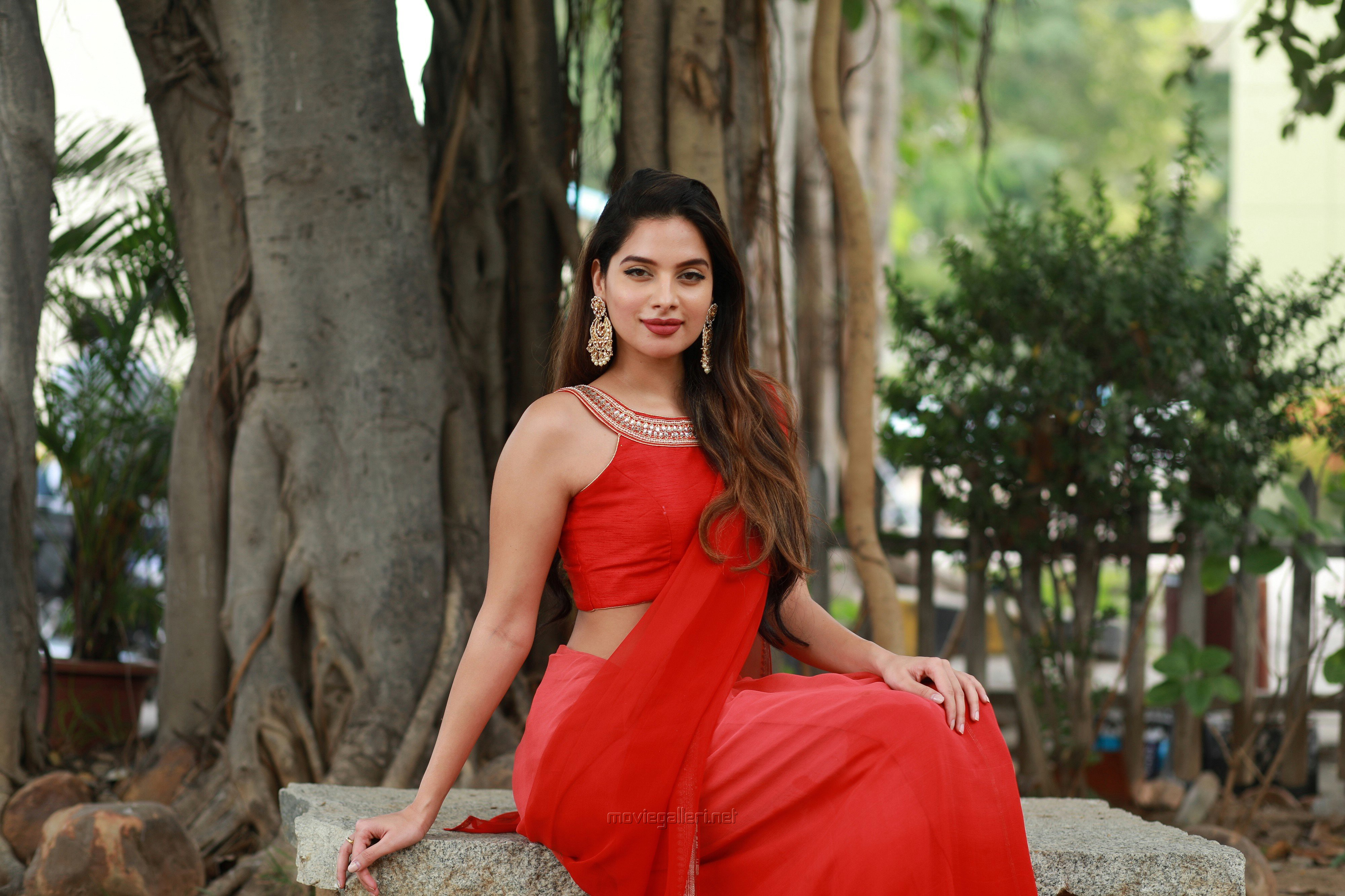 Actress Tanya Hope Red Saree Photos @ Thadam Audio Launch