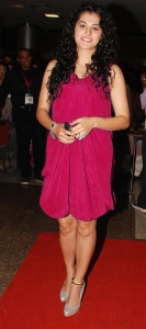 Actress Taapsee New Hot Pics in Dark Pink Dress