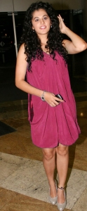 Actress Tapsee New Hot Pics in Dark Pink Dress
