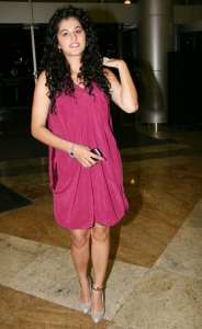 Actress Tapsee  in Dark Pink Dress Hot Pics