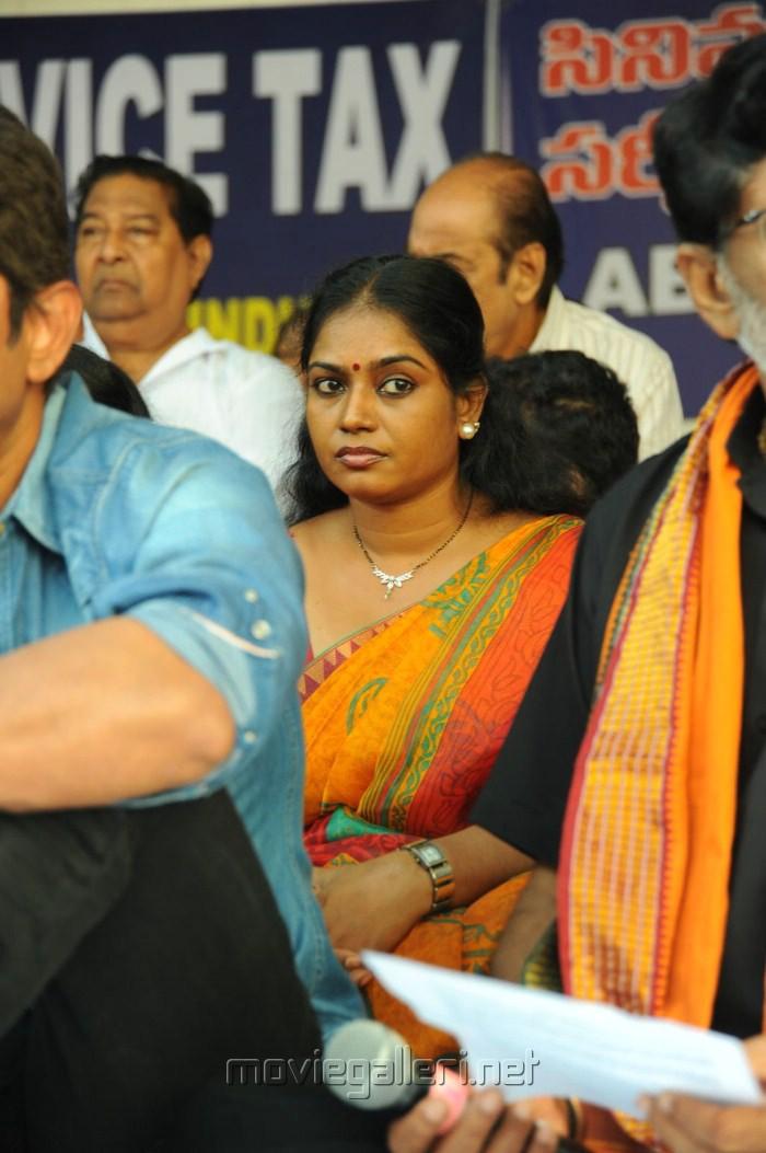 Actress Jayavani at Telugu Film Industry Protest Against Sevice Tax Stills