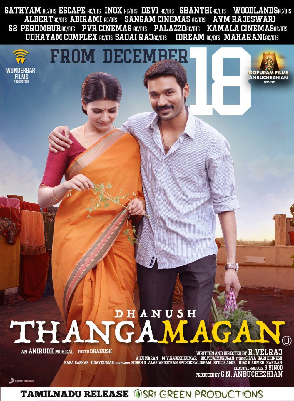 Samantha, Dhanush in Thanga Magan Movie Release Posters