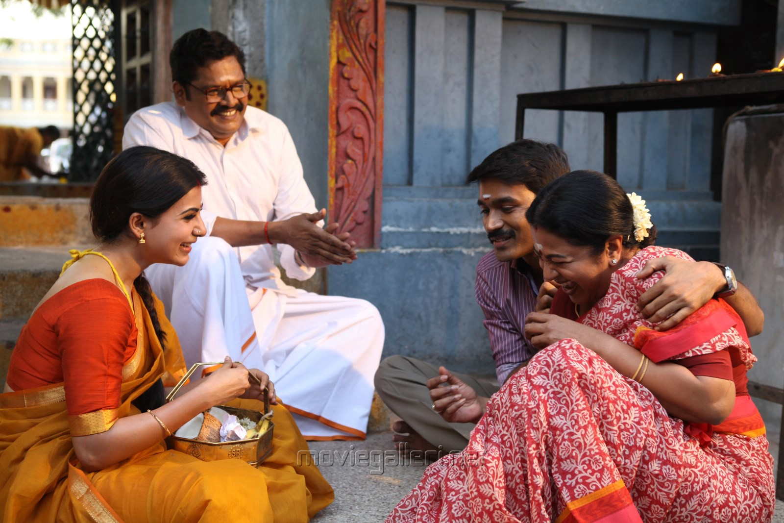 Samantha, Azhagam Perumal, Dhanush, Radhika in Thanga Magan Movie Stills
