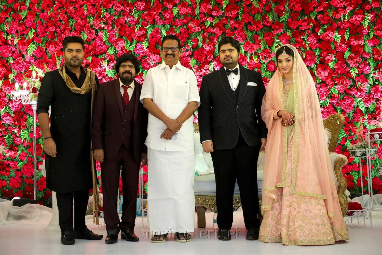 Simbu, T Rajendar, KS Alagiri @ TR Kuralarasan Nabeelah R Ahmed Wedding Reception Stills