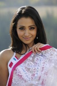 Trisha in White Transparent Saree Stills