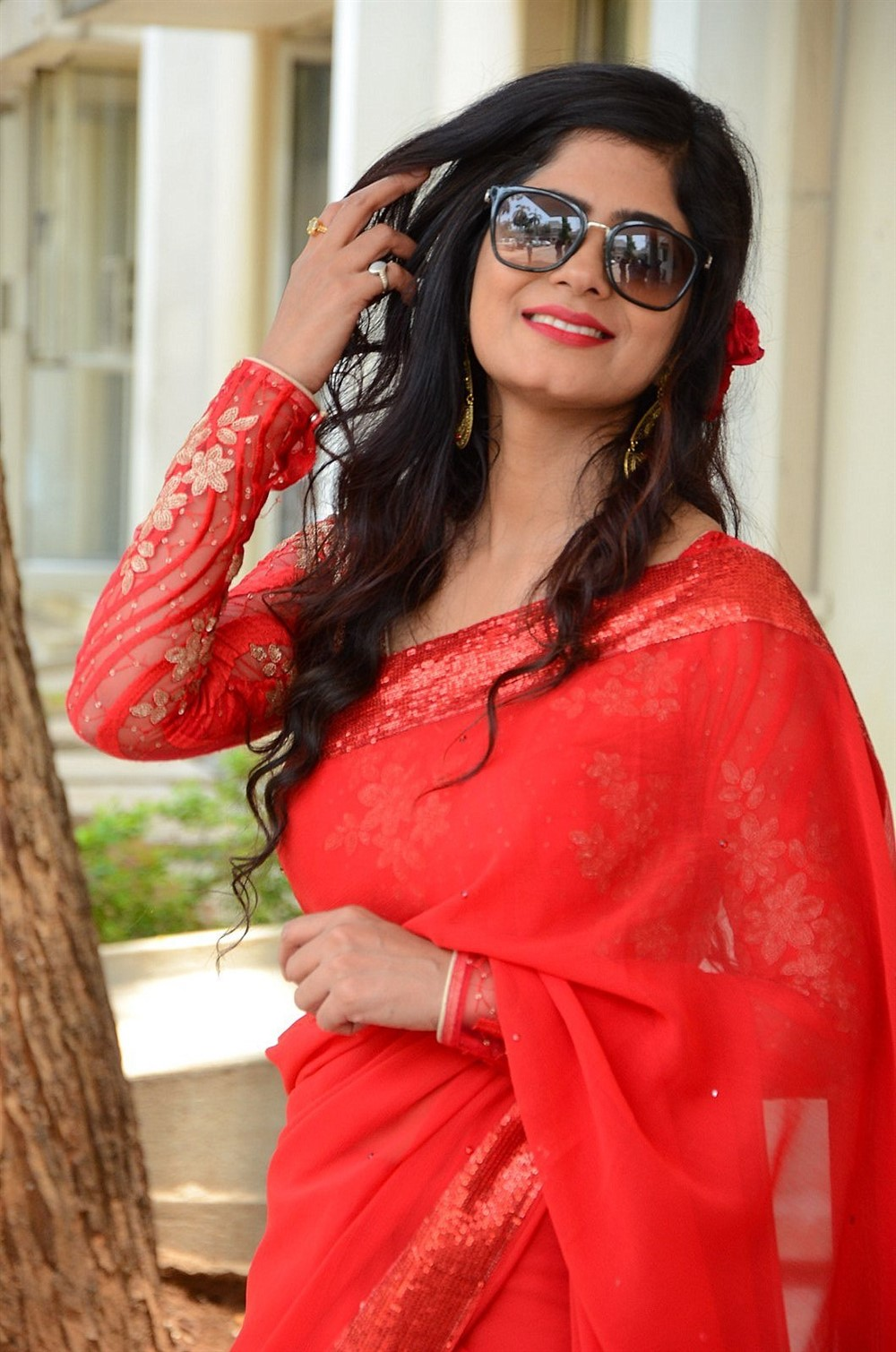 Actress Tulika Singh in Red Saree Photos