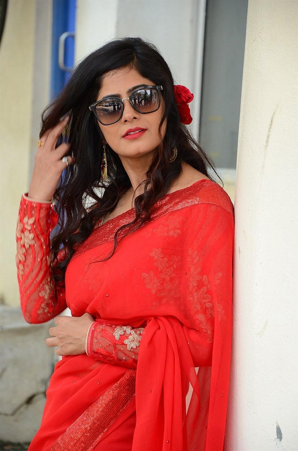 Actress Tulika Singh in Red Saree Photos