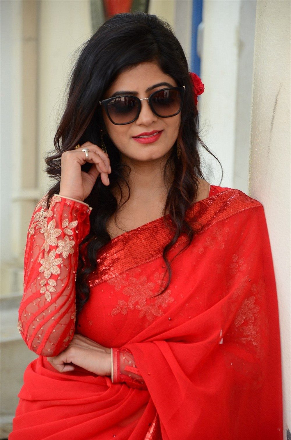 Last Seen Movie Heroine Tulika Singh in Red Saree Photos