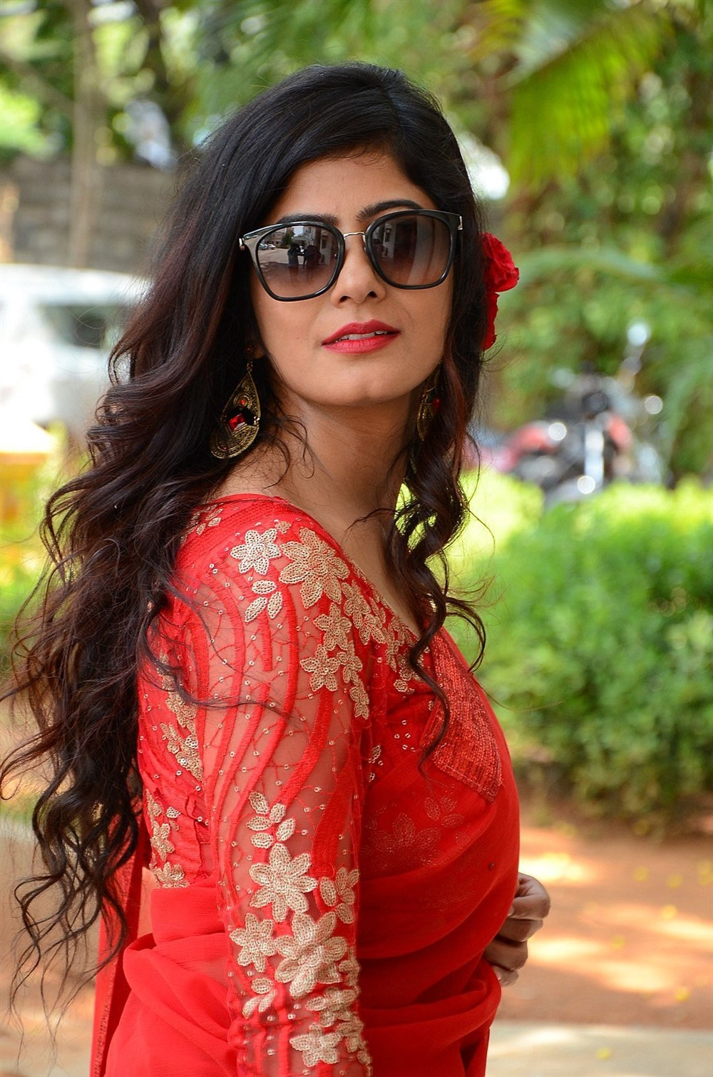 Last Seen Movie Actress Tulika Singh in Red Saree Photos