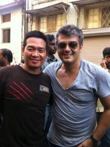 Ajith with Fan at Valai Movie Shooting Spot Stills in Dubai