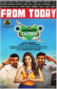 Santhanam, Priya Anand, Shiva in Vanakkam Chennai Movie Release Posters