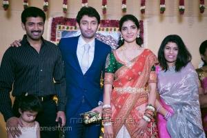 Arun Vijay with wife Aarthi at Vasanth Rishitha Wedding Reception Stills