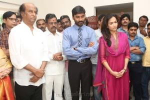 Rajinikanth, Dhanush, Soundarya Rajinikanth @ Velaiyilla Pattathari 2 (VIP 2) Movie Pooja Stills