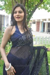 Tamil Actress Vibha Natarajan Hot in Dark Blue Saree Photos