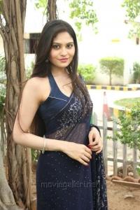 Actress Vibha Natarajan Spicy Hot Blue Saree Stills