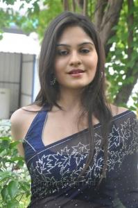 Actress Vibha Natarajan Hot Blue Saree Photos